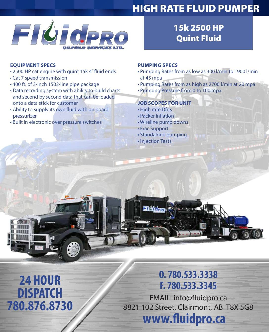 High Rate Fluid Pumper 15k 2500HP Quint Fluid