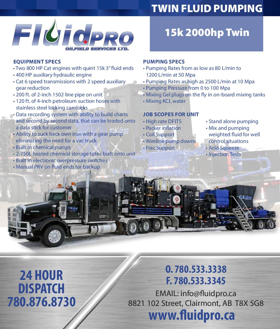 Twin Fluid Pumper 15K 2000HP